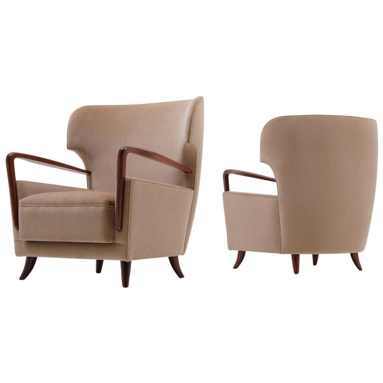 Melchiorre Bega Wingback Armchairs, Italy, 1950s For Sale