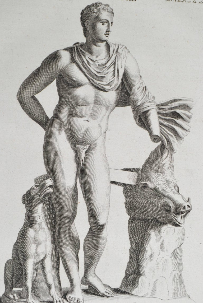 Copper engraving featuring Meleager. From the book L'antiquite Expliquee et Representee en Figures. By the Benedisctine Monk Bernard de Montfaucon. In mat and ready to frame.