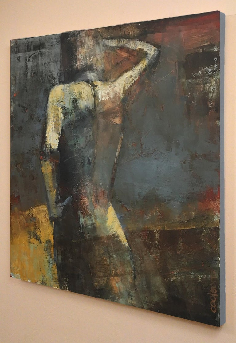 Midnight Sun, Female Figure in Light, Abstract, Oil on Canvas, Neutral Tones - Feminist Painting by Melinda Cootsona