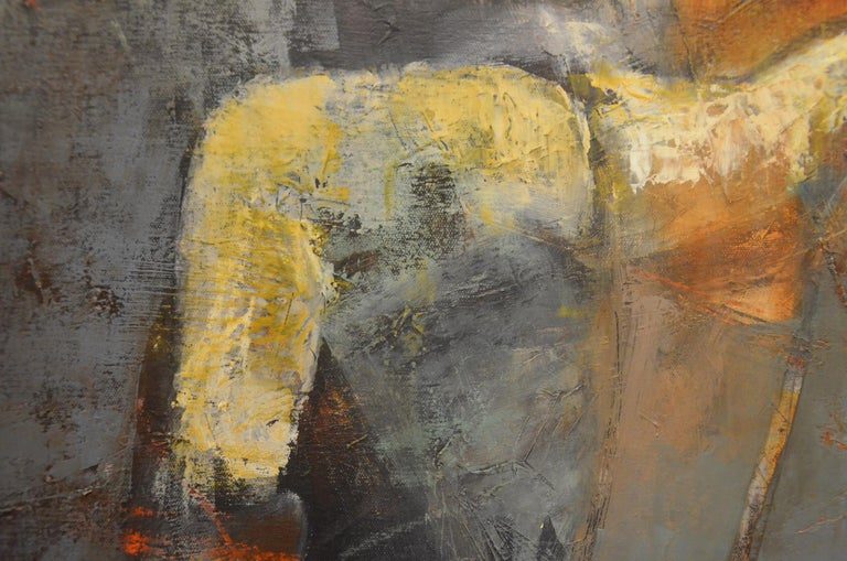 Midnight Sun, Female Figure in Light, Abstract, Oil on Canvas, Neutral Tones - Black Figurative Painting by Melinda Cootsona