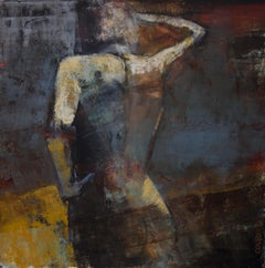 Midnight Sun, Mid Century Female Figure in Light, Abstract, Neutral Tones