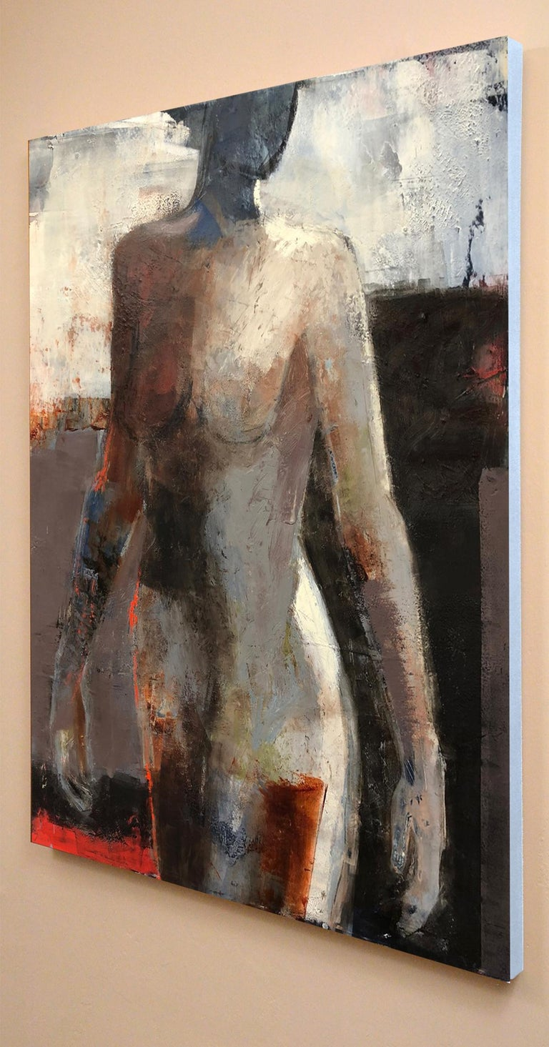 Opening, Mid Century Female Figure in Light, Abstract, Neutral Tones - Feminist Painting by Melinda Cootsona