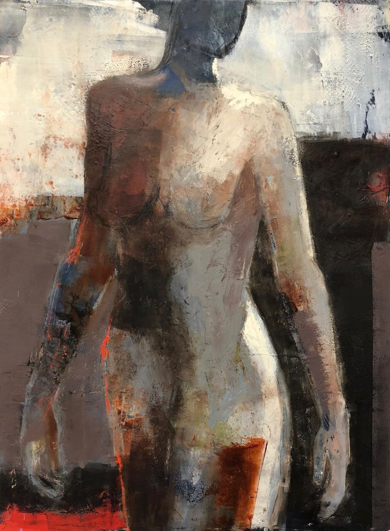 Melinda Cootsona Figurative Painting - Opening, Mid Century Female Figure in Light, Abstract, Neutral Tones
