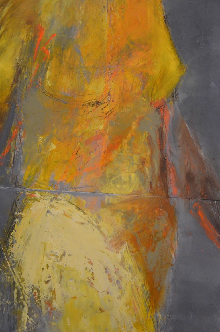Riddle, Mid Century Female Figure in Light, Abstract, Neutral Tones - Feminist Painting by Melinda Cootsona
