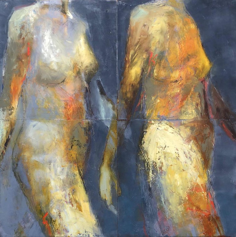 Melinda Cootsona Figurative Painting - Riddle, Mid Century Female Figure in Light, Abstract, Neutral Tones