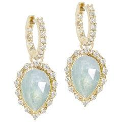 Melinda Lace Pave Aquamarine 18 Karat Gold Earrings