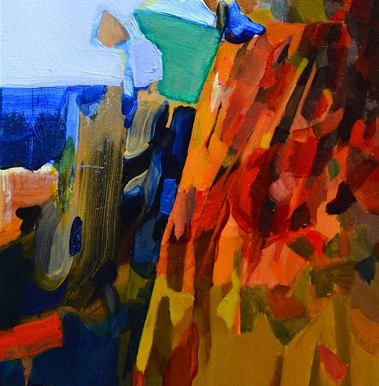 Blue Horizon, Abstract Figurative Oil Painting Contemporary Portrait Orange Blue - Brown Portrait Painting by Melinda Matyas