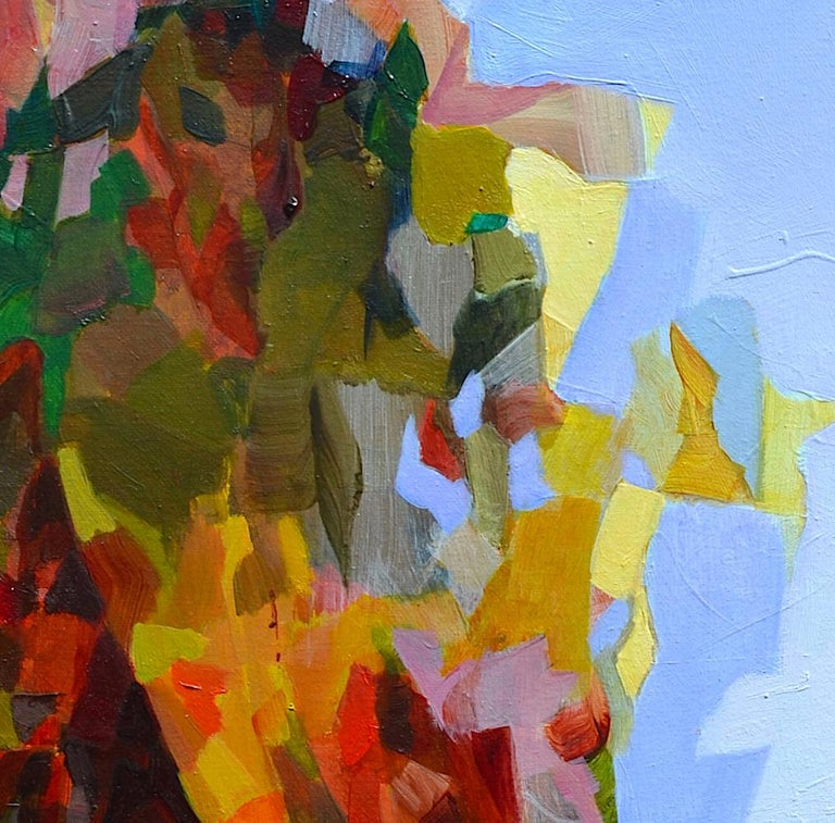 'Blue Horizon' is a great figurative abstract oil painting on canvas by emerging British artist - Melinda Matyas. Its is a portrait of a young girl wearing a bright yellow dress. This art work is inspired by the coronavirus pandemic and an extensive