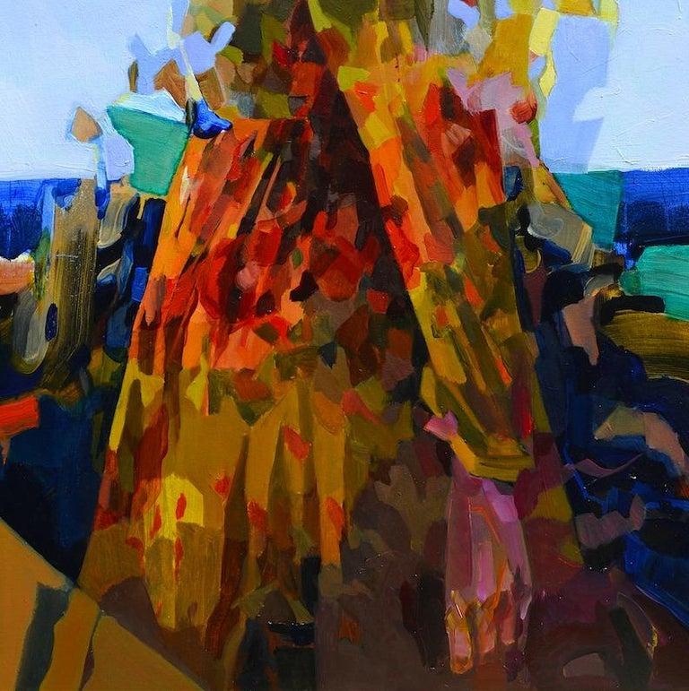 Blue Horizon, Abstract Figurative Oil Painting Contemporary Portrait Orange Blue For Sale 1