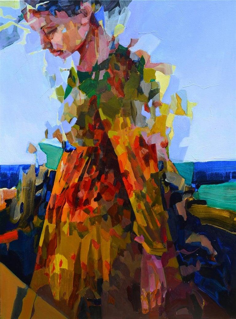 Melinda Matyas Portrait Painting - Blue Horizon, Abstract Figurative Oil Painting Contemporary Portrait Orange Blue