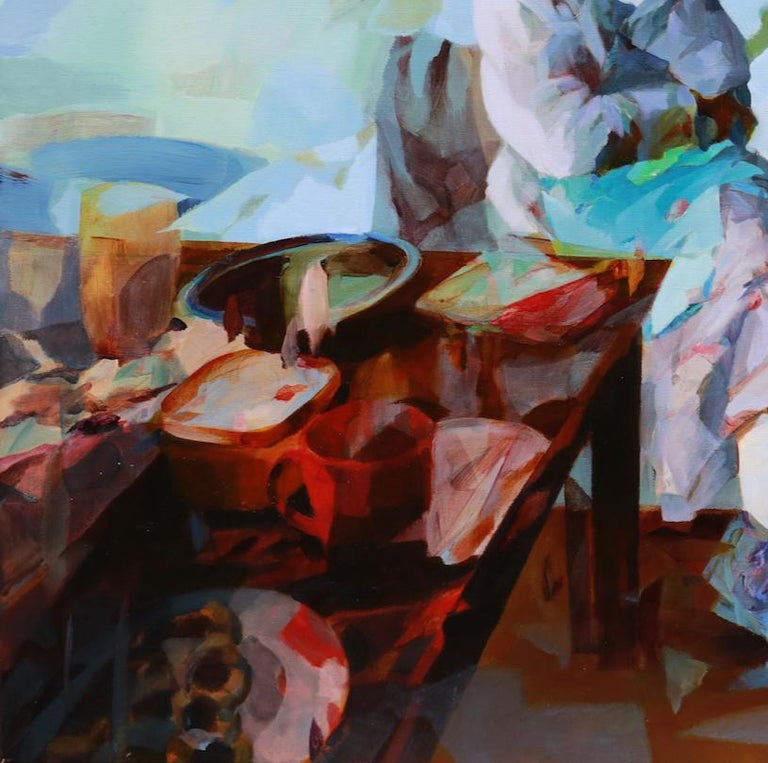 'Breakfast Forever' is a great figurative abstract oil painting on canvas by emerging British artist - Melinda Matyas. Its is a portrait of a senior woman enjoying breakfast time at home. This art work is inspired by the coronavirus pandemic and an