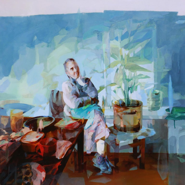 Melinda Matyas Portrait Painting - Breakfast Forever, Contemporary Abstract Art Oil Painting Canvas Portrait Blue