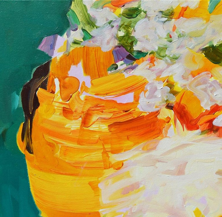 Frida as a Knight, Melinda Matyas, Figurative Oil Painting, Portrait, Yellow For Sale 3