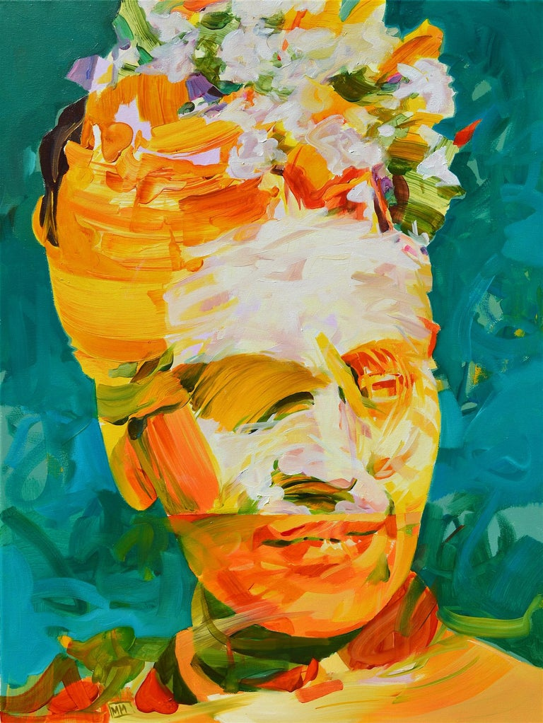 'Frida as a Knight' by Melinda Matyas is a powerful contemporary figurative oil painting, a portrait of Frida Kahlo, Mexican surrealist artist. Although this expressionist painting has an abstract style, the vibrant yellow figure of a woman shows