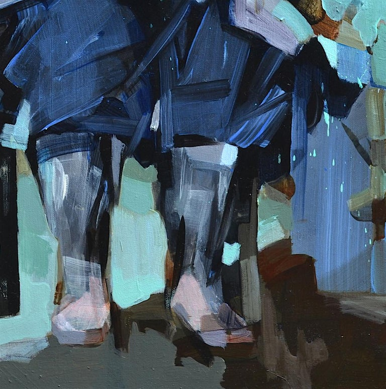 'I'm Going to be a Pilot' by Melinda Matyas is a great blue contemporary portrait oil painting with elements of expressionism. The stillness and silence are supported by grounding, earthy colors. Melinda is a London based artist whose work focuses