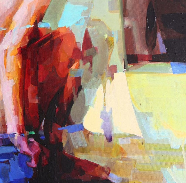 Ritual, Melinda Matyas, Contemporary Figurative Oil Painting, Portrait, Blue For Sale 2