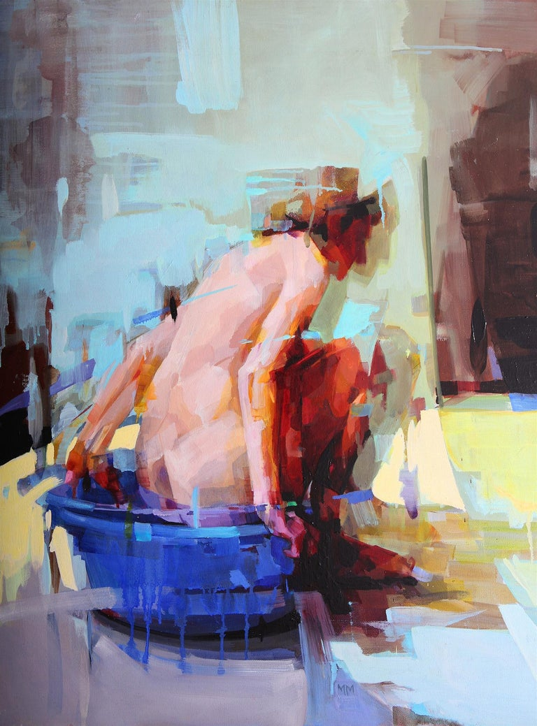 'Ritual' by Melinda Matyas is an intimate contemporary figurative oil painting, a portrait of woman taking a bath.  Melinda is a London based artist whose work focuses on the conceptual understanding of the philosophical questions and solutions