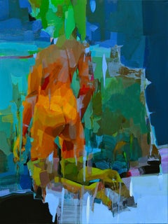 Stopping by Woods on a Snowy Evening, Melinda Matyas, Blue Abstract Oil Painting