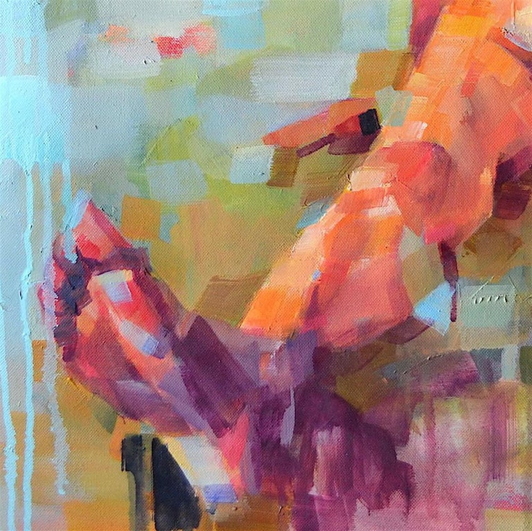 'The Reflection of Gravity' is a great figurative abstract oil painting on canvas by emerging British artist - Melinda Matyas. Its is a portrait of a nude woman. Earthy orange and  blue colors have a powerful statement and create an intimate,