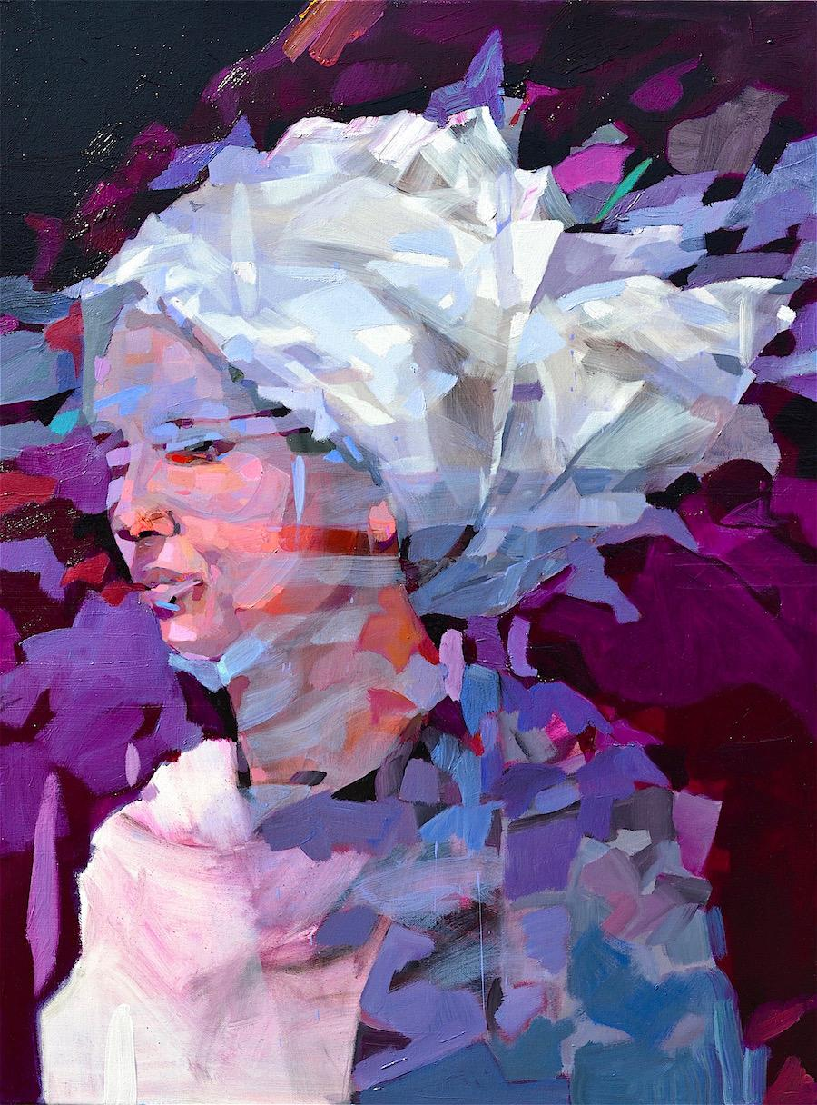 The Wind Blows Where It Wants, Abstract Art Portrait Oil Painting Canvas Purple