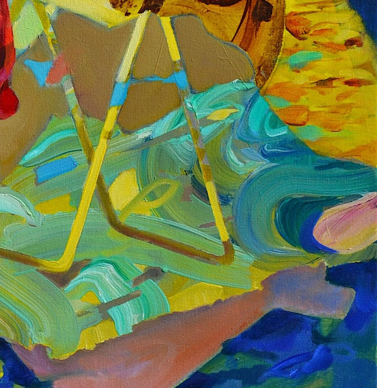 'There's a Storm Coming Uncle Tom' by Melinda Matyas is a powerful contemporary abstract oil portrait. The idea of movement as well as the mood before a storm is very well captured with a selection of vibrant colors and dynamic composition.