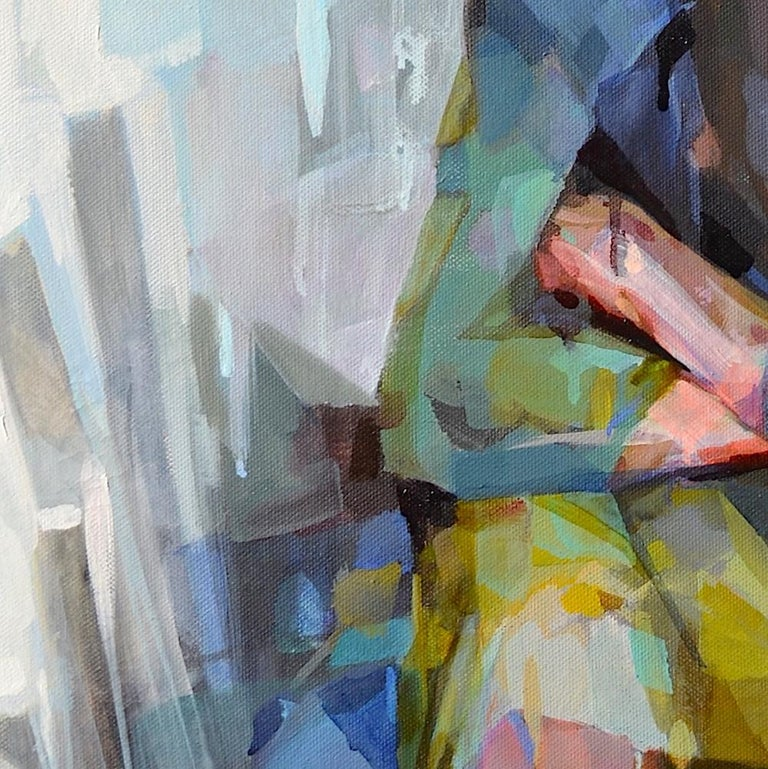 'Traveler' by Melinda Matyas is a great abstract, figurative oil painting, a portrait of a boy resting his head on his arms. The stillness and silence are supported by grounding, earthy colors. Melinda is a London based artist whose work focuses on