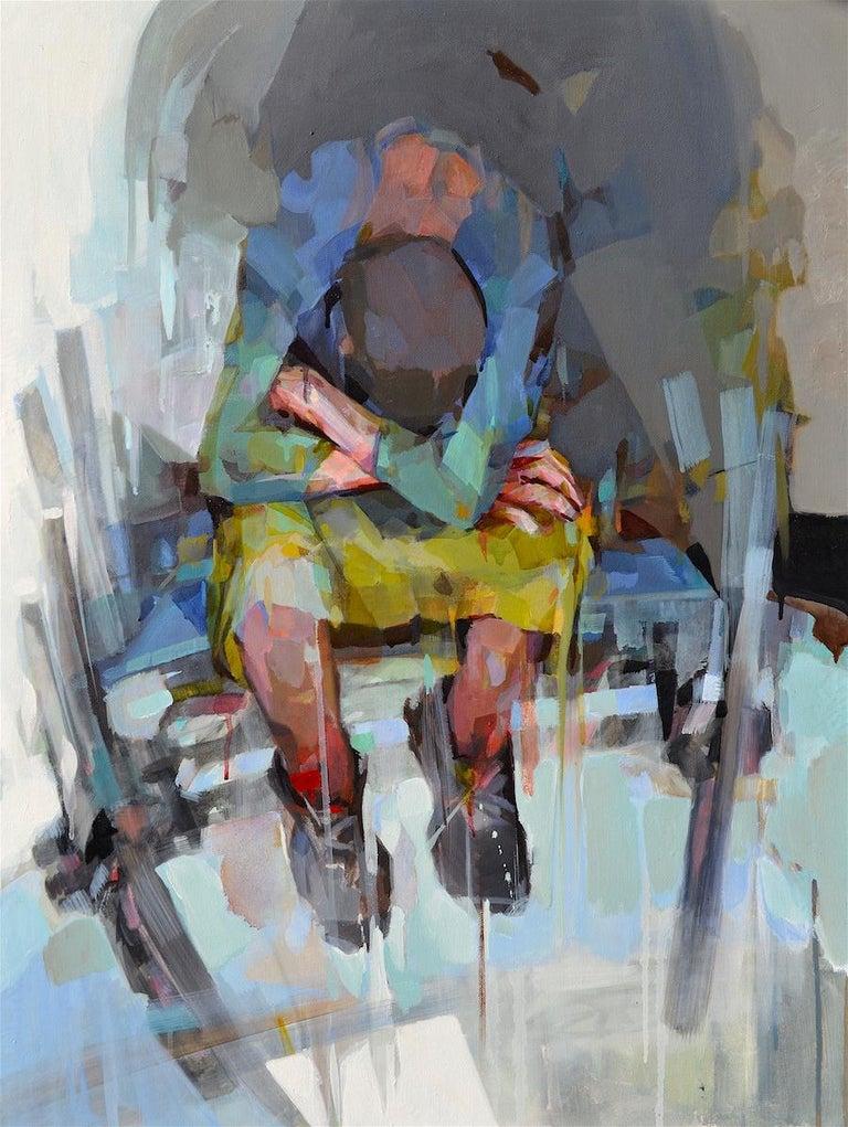 Traveler, Melinda Matyas, Figurative Oil Painting, Contemporary Portrait - Gray Portrait Painting by Melinda Matyas