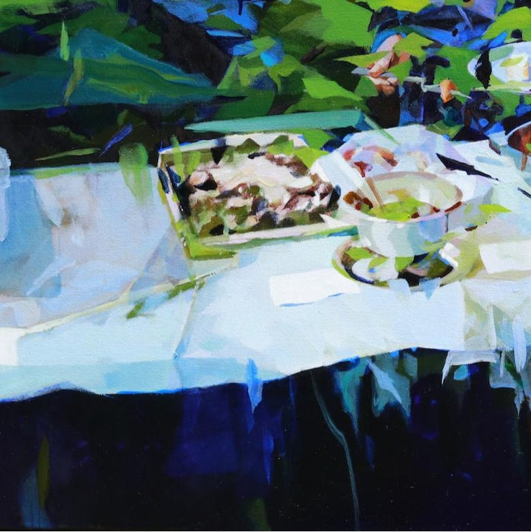 Under the Blue Sky, Melinda Matyas, Contemporary Abstract Oil Painting, Green For Sale 1