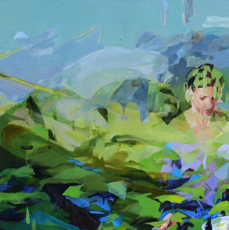 Under the Blue Sky, Melinda Matyas, Contemporary Abstract Oil Painting, Green For Sale 2