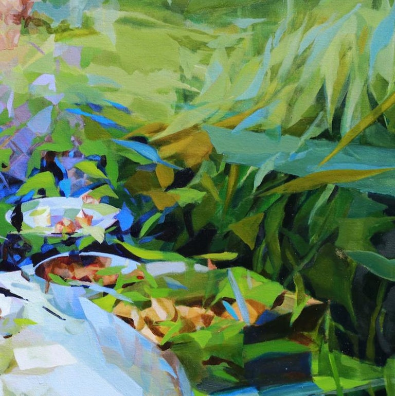 Under the Blue Sky, Melinda Matyas, Contemporary Abstract Oil Painting, Green For Sale 3