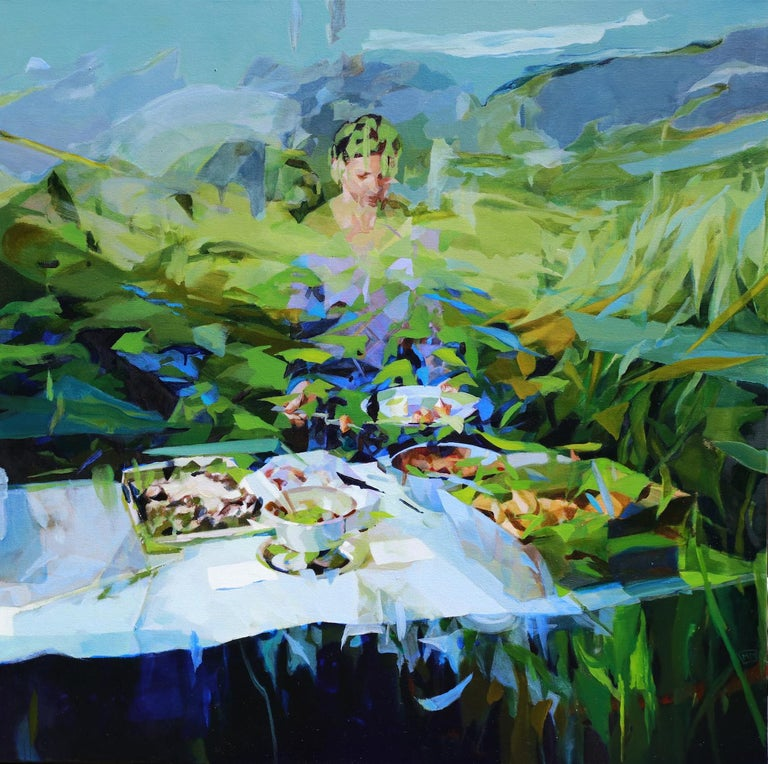 'Under the Blue Sky Alone I Celebrate' by Melinda Matyas is a stunning contemporary abstract oil painting on canvas, a portrait of woman enjoying an outdoor lunch. This artwork is inspired by the coronavirus pandemic and an extensive lockdown time.