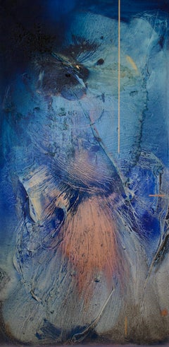 At sea between fossils and satellites 7 (blue organic copper abstract texture)
