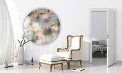 Cascadia 5 tondo (round circular panel neutrals wood contemporary grid painting)