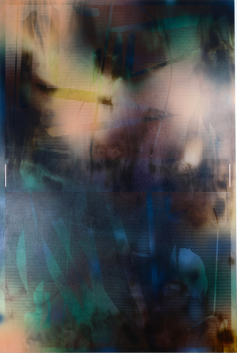 Melisa Taylor Metzger Abstract Painting - d'Ombré 2 (grid painting abstract geometry jewel tones green patterns art deco)