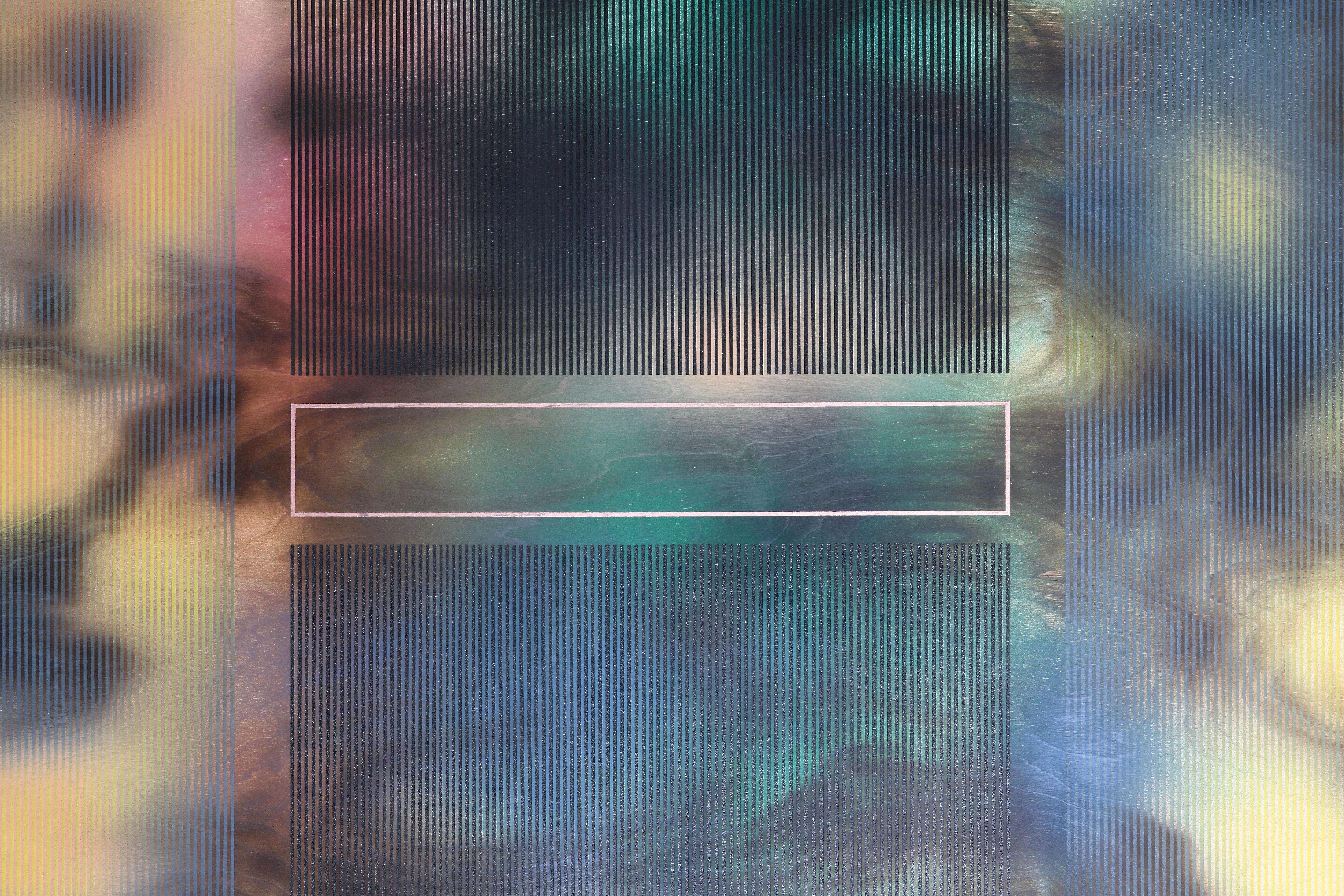 d'Ombré 3 (grid painting abstract geometry optical grey yellow green patterns)