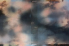 d'Ombré 4 (grid painting abstract geometry optical grey flesh indigo patterns)