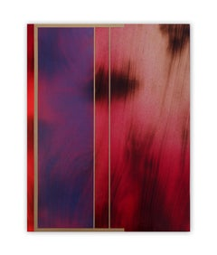 Frost and Decimals (small scale grid fushia painting abstract wood contemporary