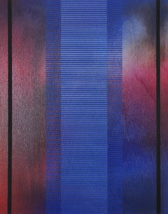 Frost & Decimals XIII (art deco grid small painting wood striped jewel tones art