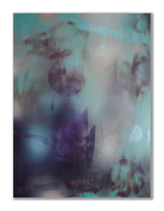 in City and in Forest 17 (grid painting abstract wood contemporary aqua indigo)