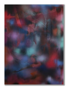 in City and in Forest 34 (grid painting abstract wood contemporary dark red art)