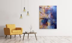 in City and in Forest 35 (grid painting abstract wood contemporary yellow blue