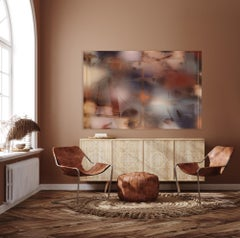in City and in Forest (pink terra cotta painting abstract wood navy blue deco)
