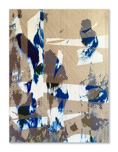 Mangata 30 (small scale gold grid painting abstract wood contemporary op art)