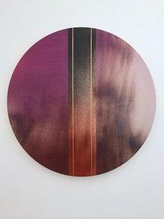 Mangata 45 (round panel tondo grid spray painting abstract wood Art Deco op art)