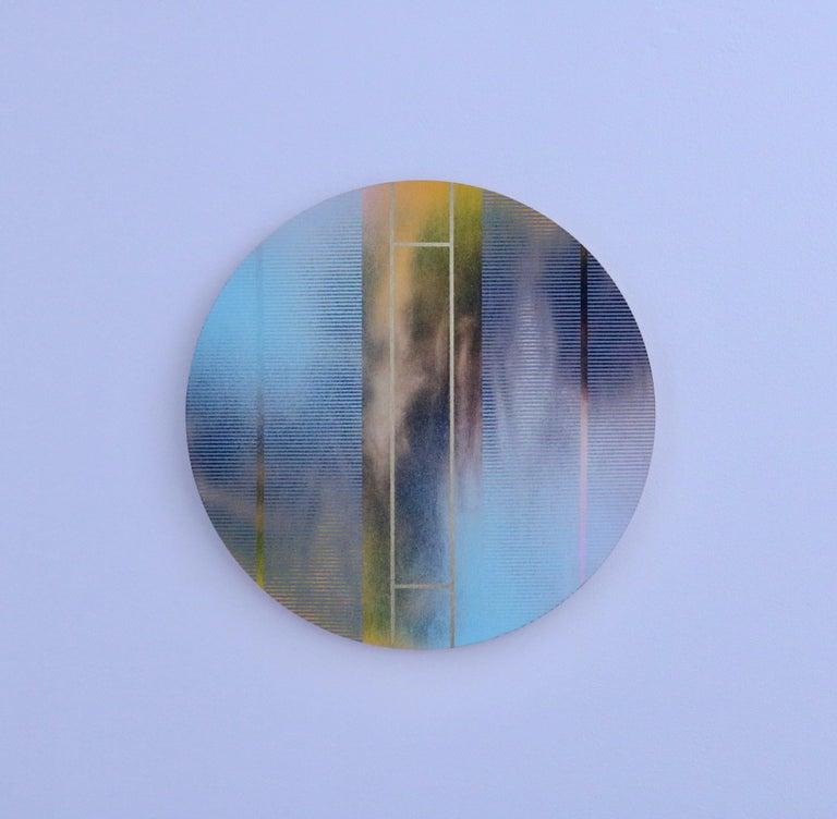Mangata 46 (round panel tondo grid spray painting abstract wood Art Deco op art) - Painting by Melisa Taylor Metzger
