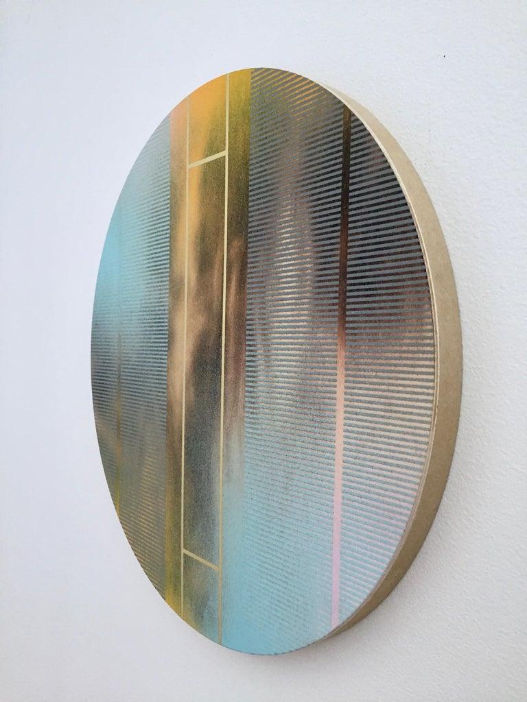 Mangata 46 (round panel tondo grid spray painting abstract wood Art Deco op art) - Minimalist Painting by Melisa Taylor Metzger
