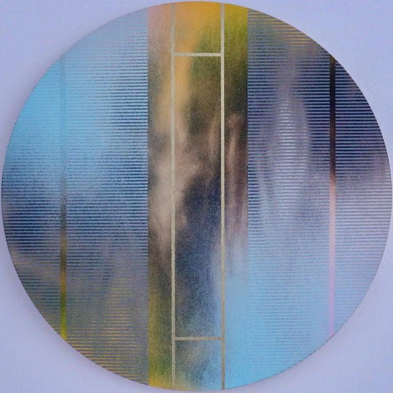 Melisa Taylor Metzger Abstract Painting - Mangata 46 (round panel tondo grid spray painting abstract wood Art Deco op art)