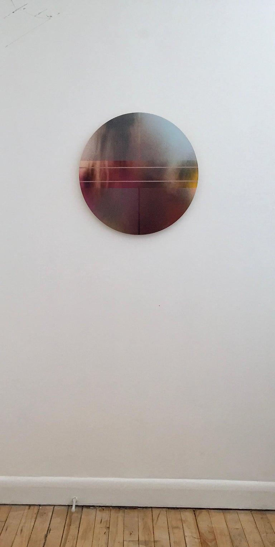 Mangata 47 (round panel tondo grid spray painting abstract wood Art Deco op art) - Painting by Melisa Taylor Metzger