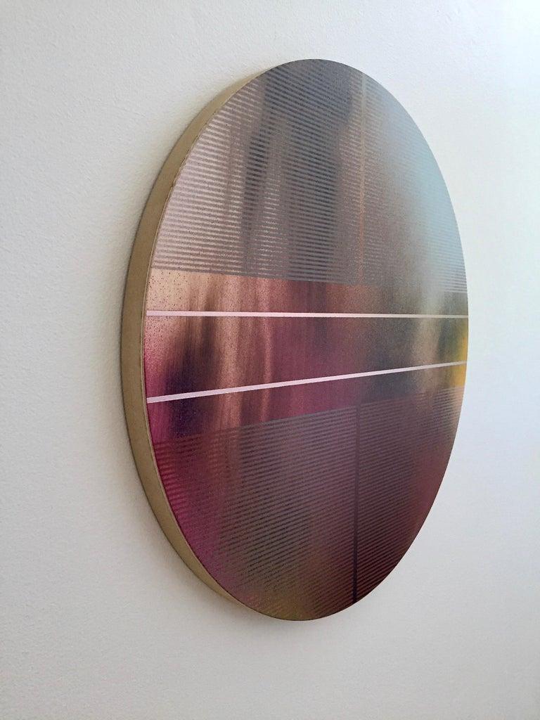 Mangata 47 (round panel tondo grid spray painting abstract wood Art Deco op art) - Minimalist Painting by Melisa Taylor Metzger