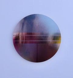 Mangata 47 (round panel tondo grid spray painting abstract wood Art Deco op art)